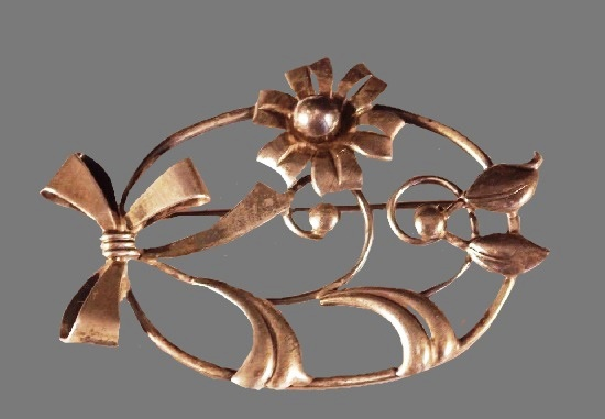 Oval sterling silver floral brooch 1950's