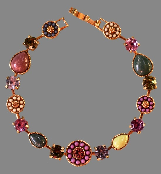 Pink Flower Bracelet. Gold tone metal, glass cabochons, crystals