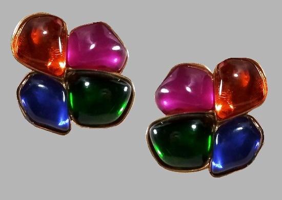 Pink Green Glass four-petal flower Earrings