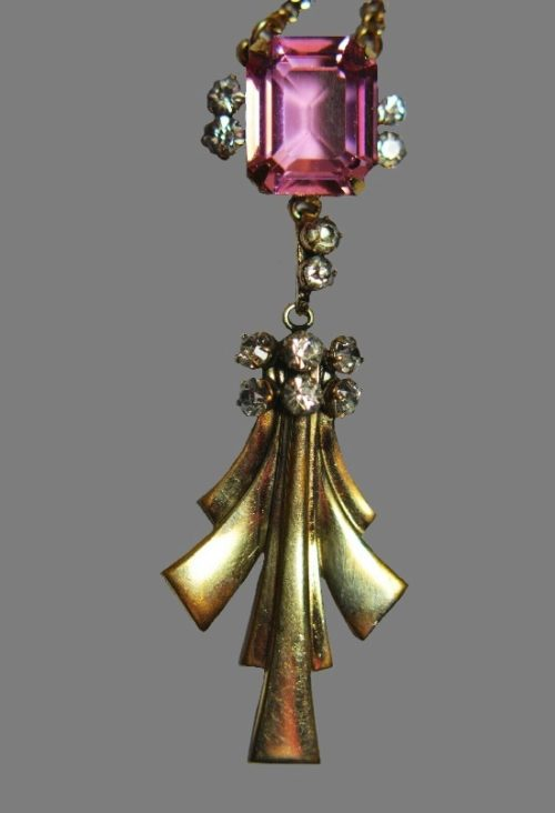 Pink glass and rhinestone 12 K gold filled pendant