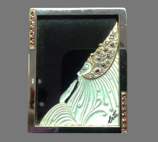 Princess Swan Limited Edition Brooch. France, 1930's. Silver, 14k gold, black Jade, Mother of Pearl, Diamonds and Rubies. Signed CFA Sterling 14K