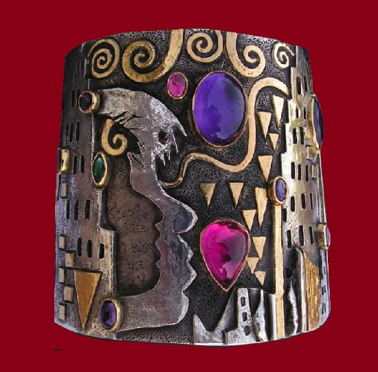 Purple Haze 2010 (tribute to Jimi Hendrix) Cuff Silver, gold, Amethyst, Pink Tourmaline, Emerald