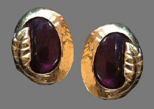 Purple glass gold tone clip on earrings. Vintage, 1980s
