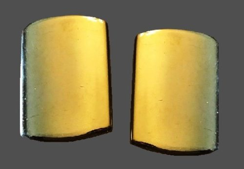 Rectangle gold tone clip on earrings