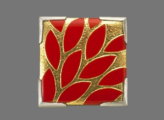 Red Gold Leaves brooch. Multi-functional enamel, silver, gold leaf