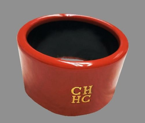 Red plastic bangle with logo