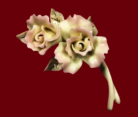 Rose porcelain pin 24K Gold Accent