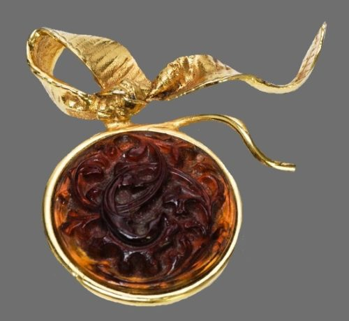 Rose round brooch. Limited Edition gold tone poured glass