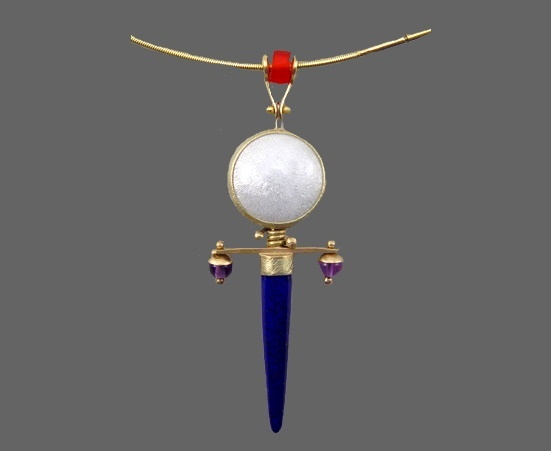 Scepter d'Or necklace. enamel, gold, silver, lapis, glass