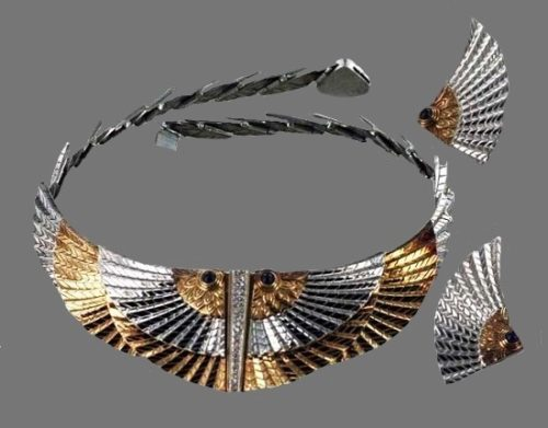 Silver and gold set of necklace and earrings