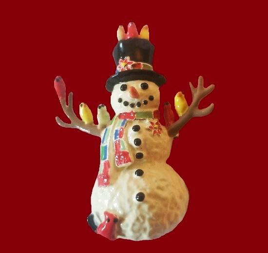 Snowman porcelain enamel brooch