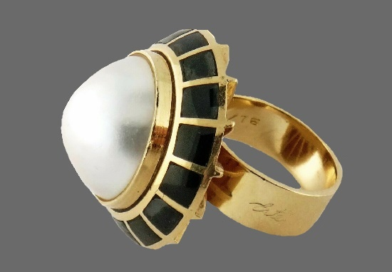 Soleil Noir Domed Ring. Gold filled, pearl