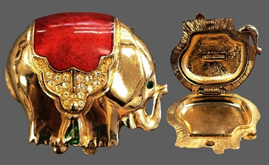 Solid Perfume Elephant Compact Box. Gold Tone metal, red enamel