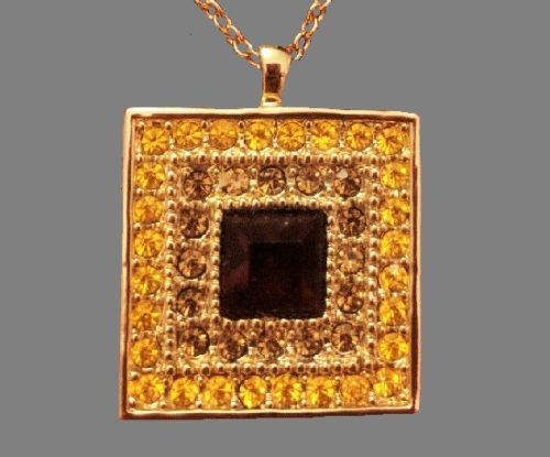 Square shaped necklace, gold tone, textured metal, rhinestones