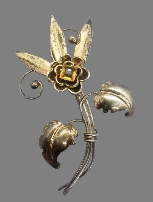 Sterling silver vermeil topaz rhinestone vintage brooch