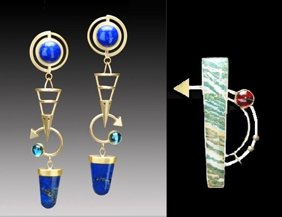 Streak earrings. Lapis lazuli, London blue topaz, 22, 14K gold. Right - Brooch pendant. Fancy jasper, Garnet, 22,18K gold, Sterling silver