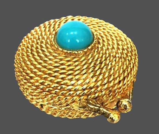 Twisted gold rope perfume compact faux turquoise insert