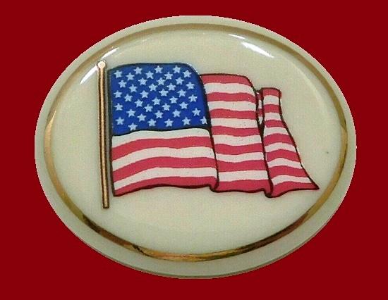 US flag patriotic pin, gold trim