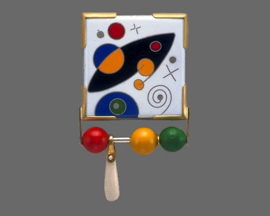 Universe brooch. Enamel, gold, silver, wood, bone