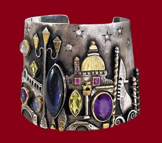 Venice cuff bracelet, Silver, gold, Labradorite, Ruby, Amethyst, Peridot, moon stone