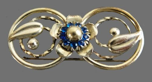 Victorian revival design 12 K gold filled sterling silver brooch pin. 1950s