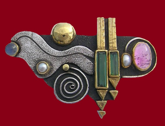 Vintage brooch 1986. Silver, gold, green and pink tourmaline, pearl, moonstone