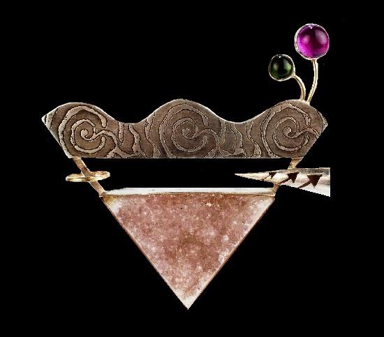 Vintage brooch. Sterling silver, 14K gold, amethyst, green tourmaline. 1997