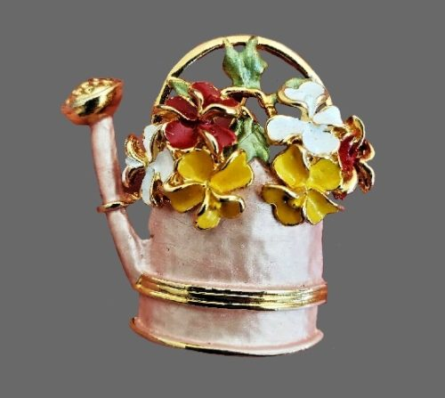 Watering can with flower bouquet vintage brooch. Sterling silver, gold plated, enamel, mother-of-pearl