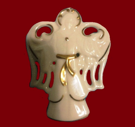 White angel porcelain brooch with gold accent