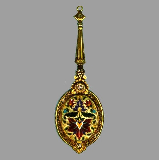 A pendant-mirror made of gold with enamel and diamonds. 1880. An excellent example of cloisonne enamel, with which the master worked
