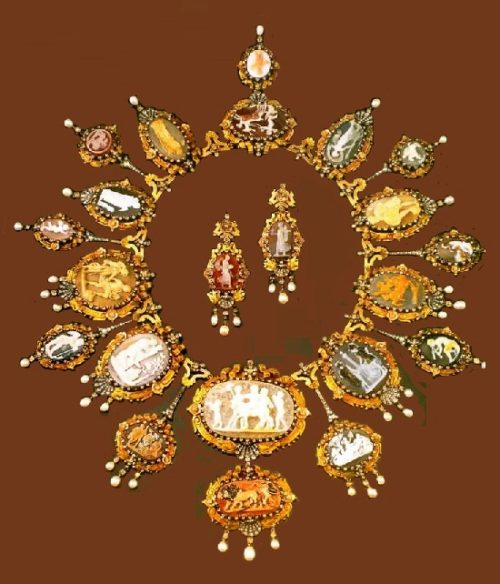 A rare necklace of the 1870s and a pair of earrings with a collection of cameos on the mythological subjects