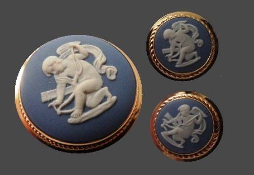 Amur set of earrings and brooch. 1970s