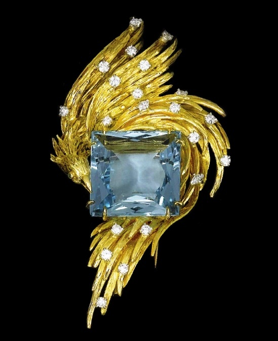 Aquamarine and diamond brooch 1970