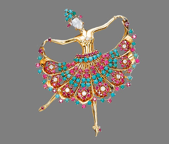 Ballerina brooch of gold with diamonds, rubies and sapphires. 1945