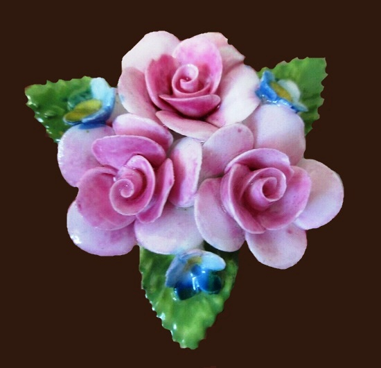Beautiful pink flower brooch