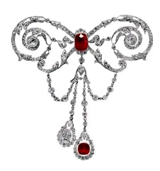 Belle Epoque Jewelry. Ruby, diamond, platinum