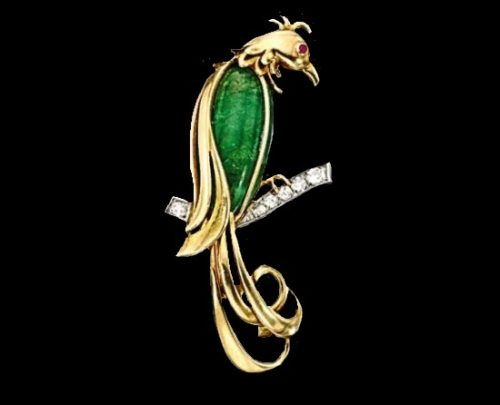 Bird brooch. Emerald, sapphire, diamond. 1940