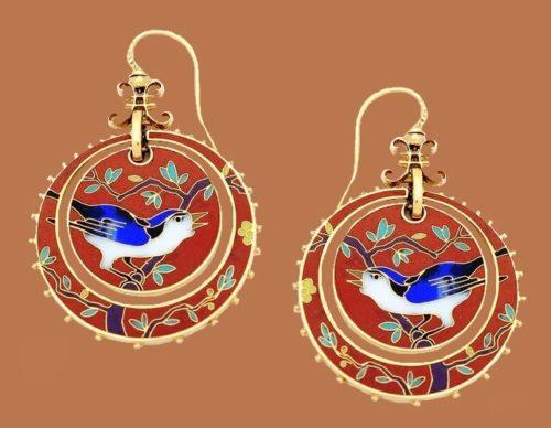 Bird in the tree red earrings, Japanese motif
