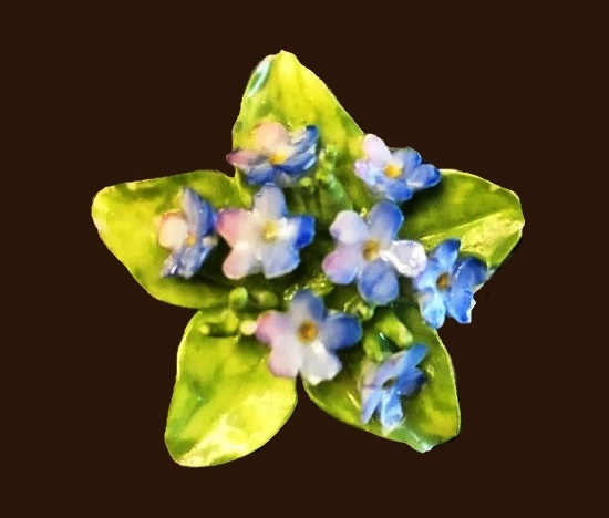 Blue and green violet flowers brooch pin
