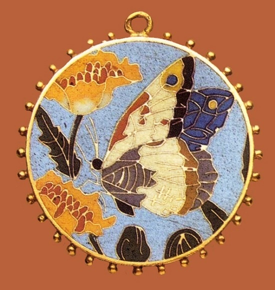 Butterfly and flower round pendant