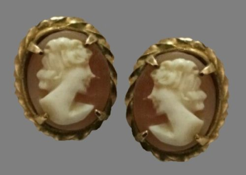 Cameo earrings. 12K Gold Filled