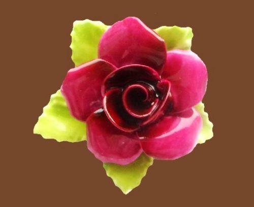 Dark pink rose brooch. 4 cm. 1960s