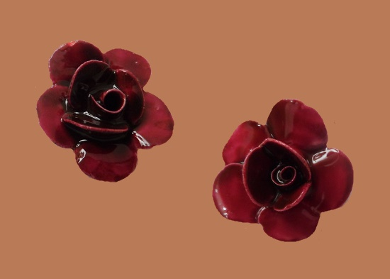 Dark red rose clip on earrings. 1960s