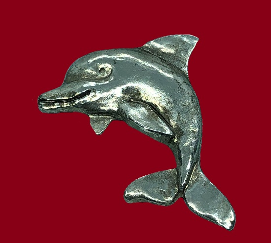 Dolphin silver tone brooch pin