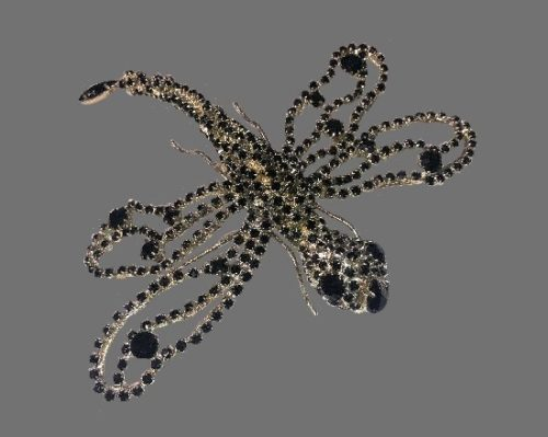 Dragonfly pin. Silver tone metal, Swarovski crystals