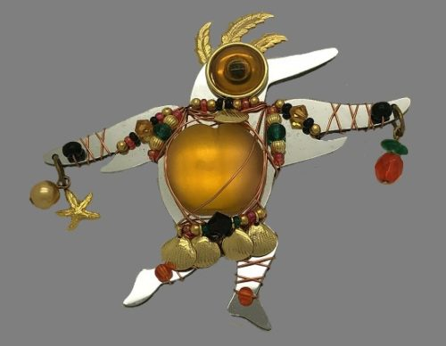 Eagle Dancer Kachina Doll Pin Brooch. Silver and gold tone metal, glass beads, lucite. 1996