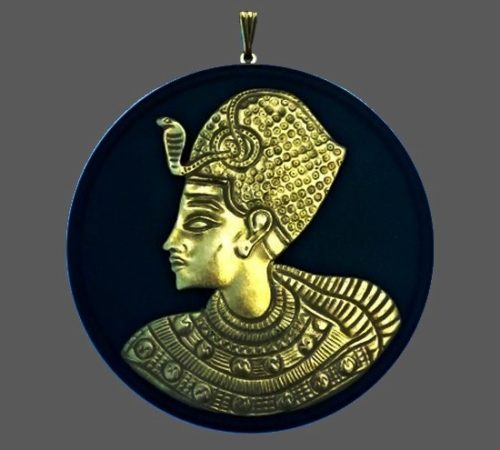 Egyptian motif pendant. 1970s. 7.2 cm