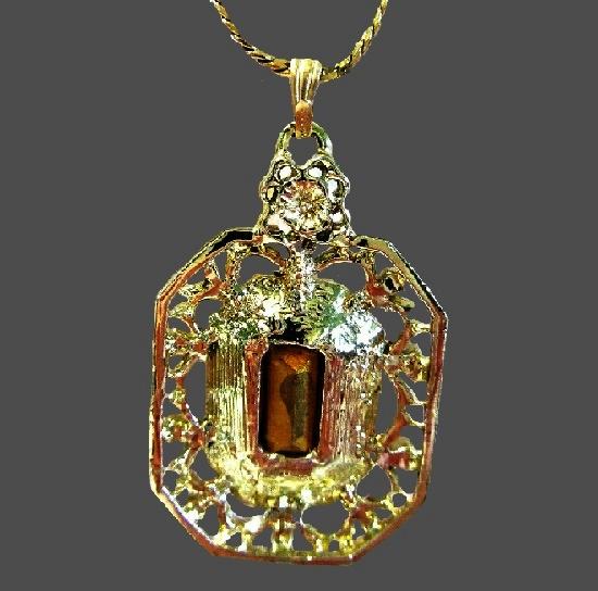 Faux emerald gold tone rhinestones pendant