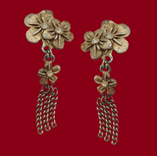 Flower design long 9 cm dangle earrings, rhinestones, jewelry alloy. 1985