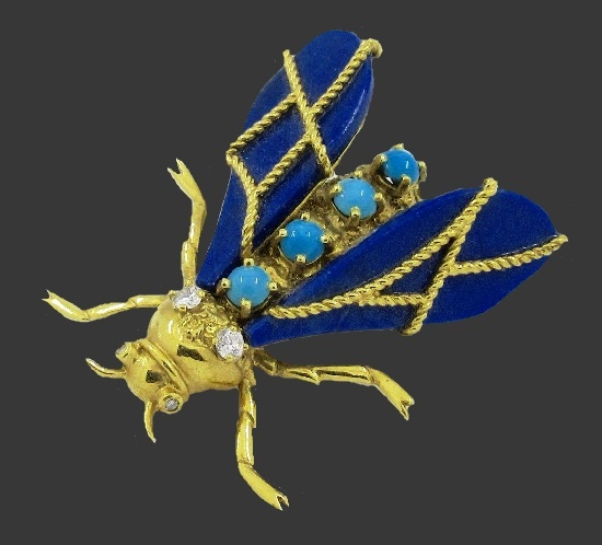 Fly brooch. 18k gold, diamond, turquoise, lapis